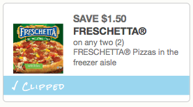 $1.50 off two (2) FRESCHETTA Pizzas