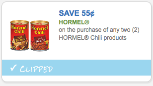 Save $0.55 on Hormel Chili Products