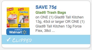 Save $.75 on Glad Trash Bags