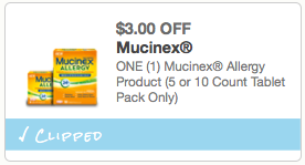 $3.00 off Mucinex Allergy Product 5 or 10 Count