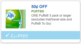 Save $.50 off Puffs 3 Pack or Larger
